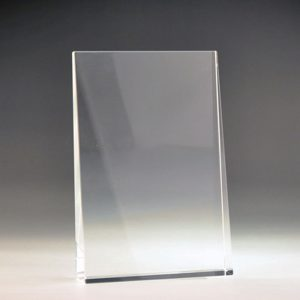 Blank crystal wedge award by Etchcraft