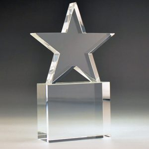 Blank Crystal Star on Block award by Etchcraft