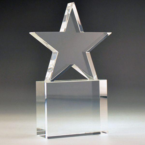 Blank Crystal Star on Block award by Etchcraft