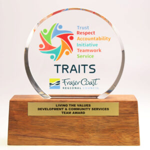 Bespoke Fraser Coast plinth award by Etchcraft
