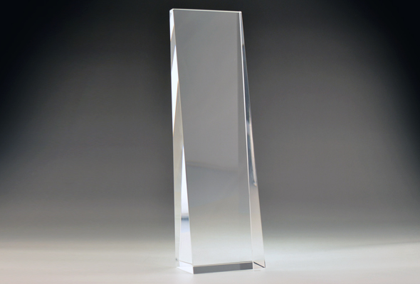 Blank Crystal Tall Wedge award by Etchcraft
