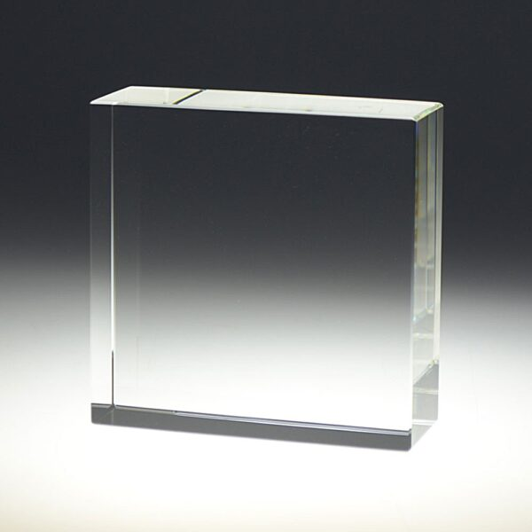 Blank crystal Block square award by Etchcraft