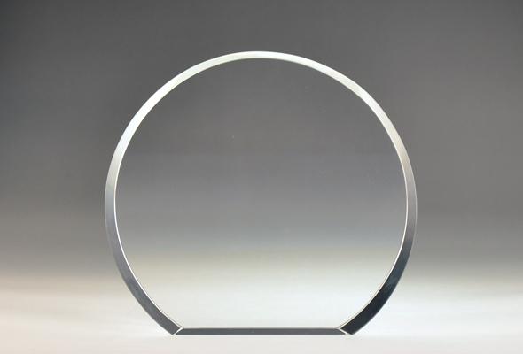 Blank round crystal circular wedge award by Etchcraft