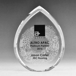 Blank Crystal Teardrop award by Etchcraft