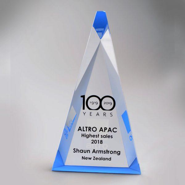 Blank Crystal Triangle award by Etchcraft