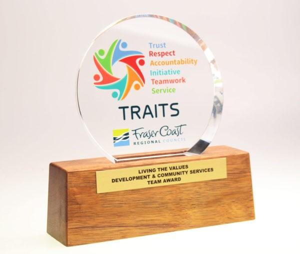Bespoke Fraser Coast plinth award by Etchcraft