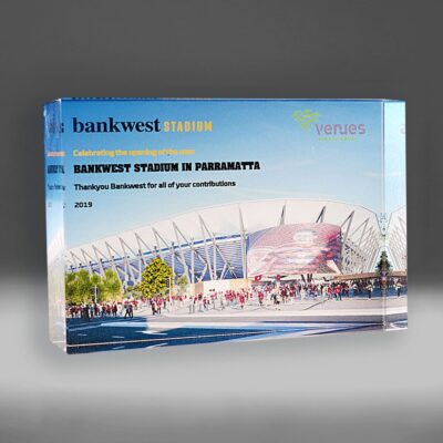 Bespoke Bankwest digital print award by Etchcraft