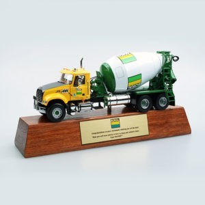 Bespoke Boral wood plinth truck award by Etchcraft