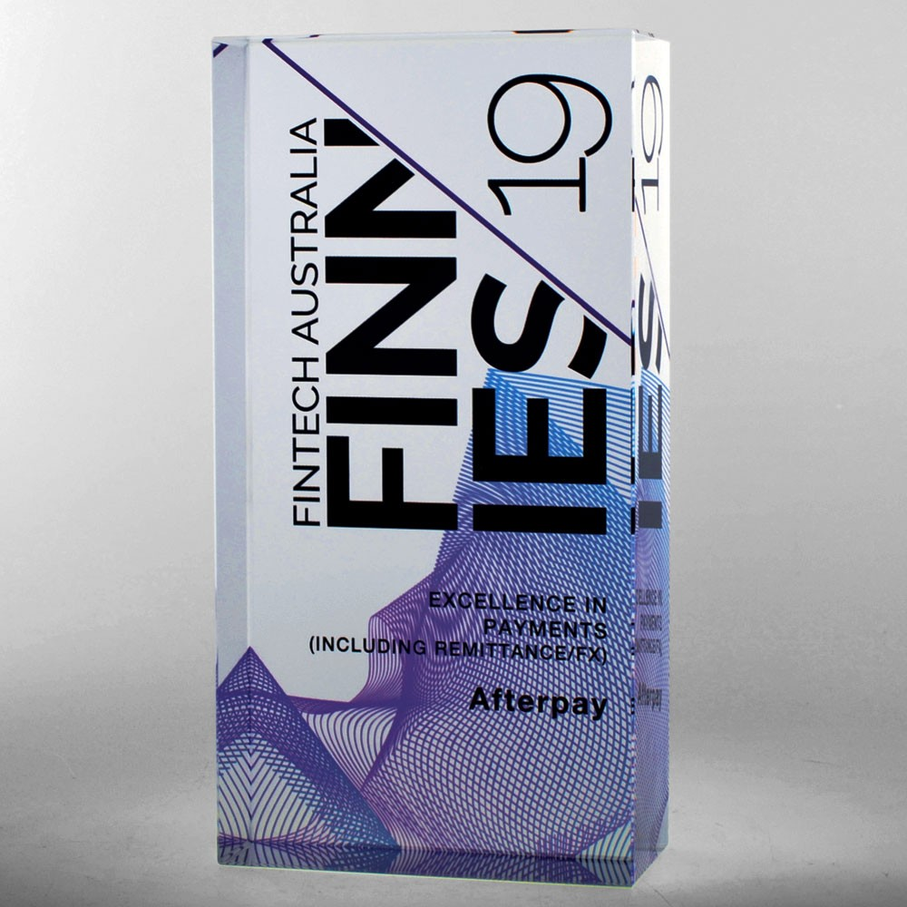 Bespoke Fintech digital print award by Etchcraft