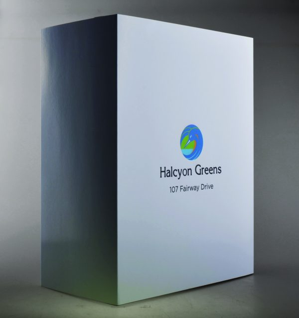 White sleeve packaging for Hacyon greens by etchcraft