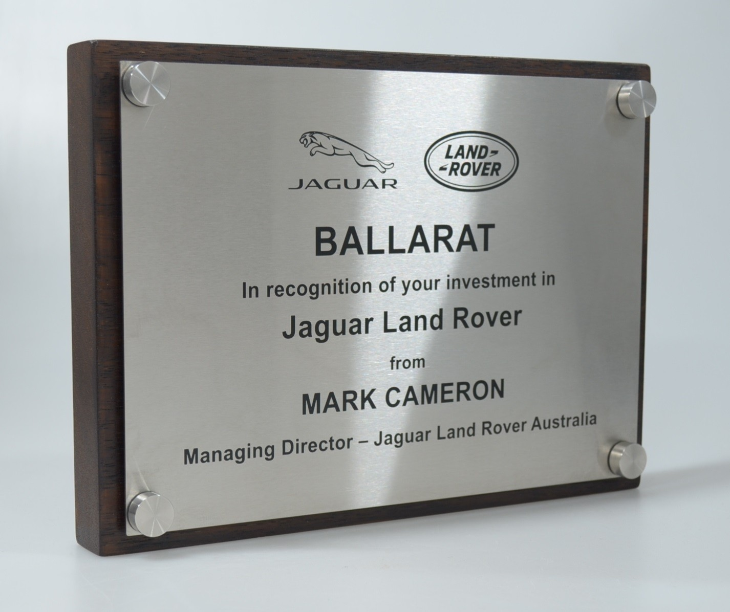 Bespoke Jaguar Land Rover plaque award by Etchcraft