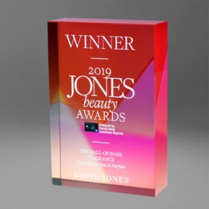 Bespoke David Jones digital print award by Etchcraft