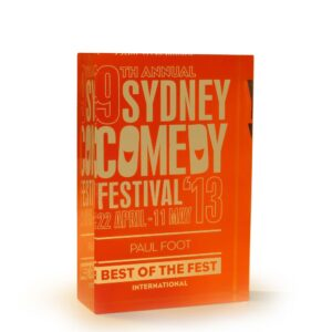 Crystal block orange Comedy festival award by Etchcraft