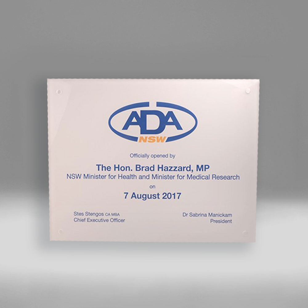 Bespoke ADA plaque award by Etchcraft
