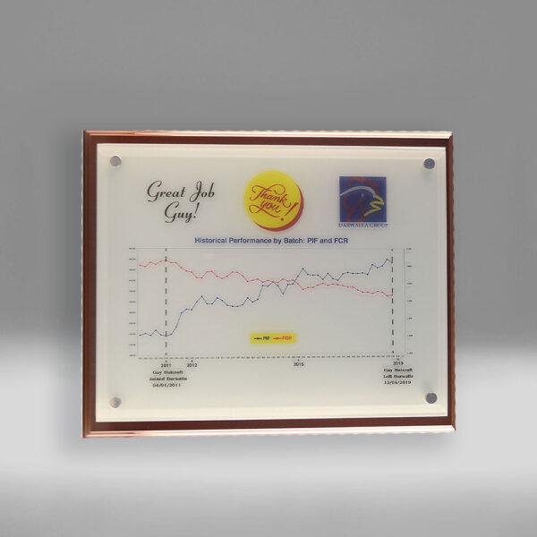 Bespoke Darwalla plaque award by Etchcraft