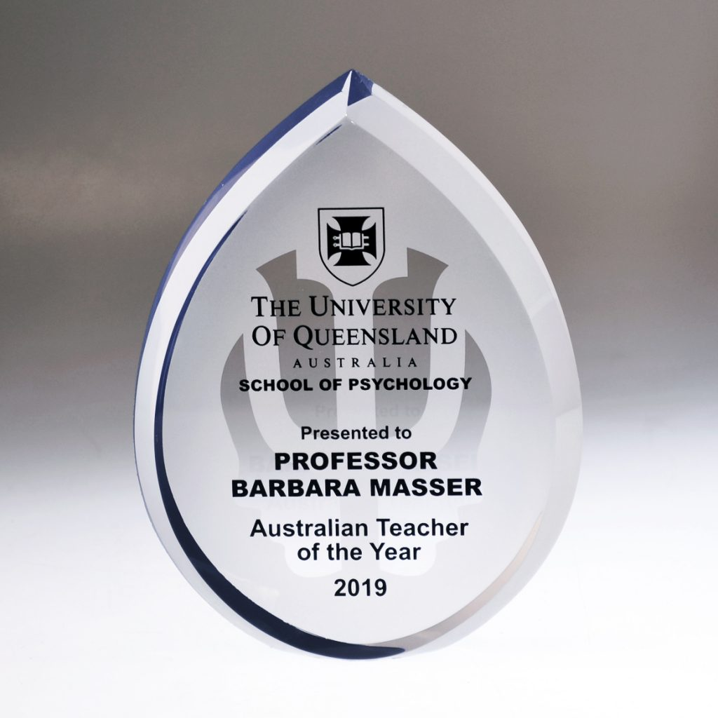 UQ Psychology Crystal Droplet award by Etchcraft